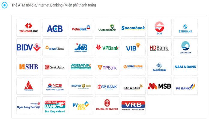 Nhiều ngân hàng cho phép thanh toán trực tuyến